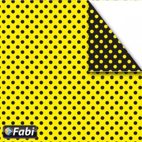 Χαρτόνι  πουά 2 όψεων 50χ70cm κίτρινο-μαύρο