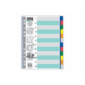 Διαχωριστικά Ευρετήρια Α4 P.P. χρωματιστά 12 θέματα.