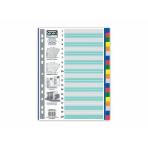 Διαχωριστικά Ευρετήρια Α4 P.P. χρωματιστά 20 θέματα