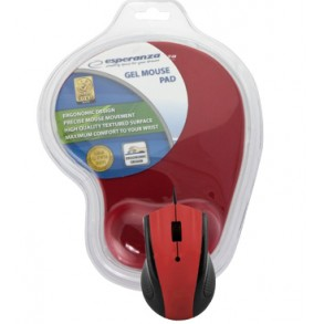 ESPERANZA OPTICAL MOUSE WITH GEL MOUSE PAD RED