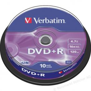 DVD+R Verbatim 4.7GB 16X 10Τ. CB 43498
